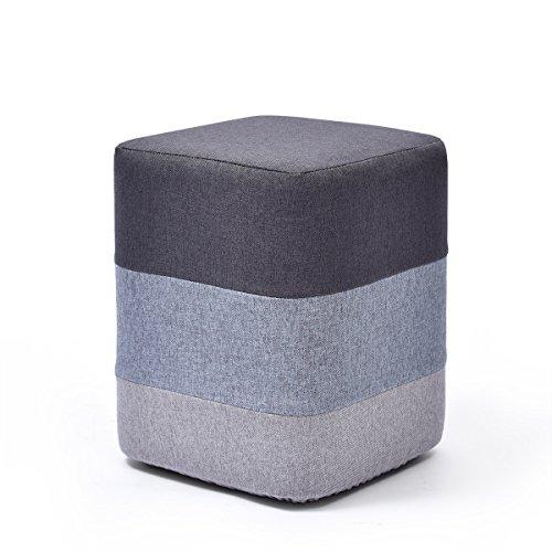 Repose-pieds Tabouret de chaise en bois avec pouf Pouf carré Couvre-lit amovible Repose-pieds rembourré Vêtement de maquillage | Couloir Heavy Duty Max, 150KG 29x29x35cm - Gris