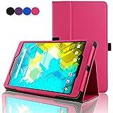ACdream BQ Edison 3 mini 8 inch Protective Case, Folio Premium PU Leather Cover Case for Bq Edison 3 mini 8 inch tablet, Hot pink