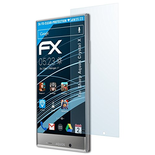 atFolix Schutzfolie kompatibel mit Sharp Aquos Crystal X Folie, ultraklare FX Displayschutzfolie (3X) - Screen Sharp Crystal Protector