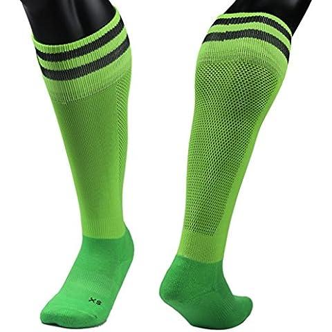 Clode® 1pair medias fútbol calcetines de los niños al aire libre 9-13 años fútbol calcetines (Verde)