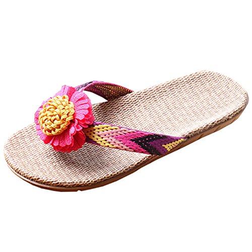 Oasap Damen Leinen Slippers Sandalen Anti-Rutsch Flip-Flops Fuchsia