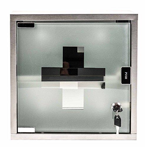 Bubble-Store Medizinschrank abschließbar, Medikamentschrank quadratisch aus Edelstahl, Glastür mit Schloss, 2 Schlüssel, inklusive Montagematerial, Maße ca. 30 x 30 cm