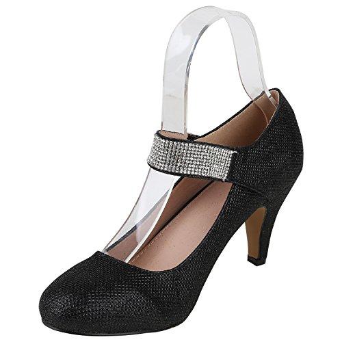 Stiefelparadies Damen Pumps Mary Janes High Heels Spangenpumps Leder-Optik Schuhe Karneval Fasching Kostüm Prinzessin Rock'n'Roll Cabaret Flandell Schwarz Strass