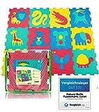 Tapis de jeu en mousse pour bébés et enfants | 12 dalles en mousse EVA avec animaux sauvages dans un sac de rangement | Tapis puzzle 20% plus épais et plus doux | Sûr à 100%, non toxique