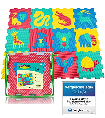(Der VERGLEICHSSIEGER 2018* Puzzlematte für Babys und Kinder | 12 Schaumstoffplatten mit Tieren in einer Aufbewahrungstasche | +20% dickere, weichere Spielmatte | Schadstofffrei, TÜV Formamid geprüft)