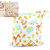 Travel Wet and Dry Cloth Diapers Wet Bags Waterproof Reusable with Two Zippered Pocket