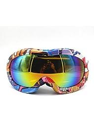 Niños UV protección anti-empaños Ski SnowBoard Skate gafas, gran angular lente esquí gafas de niños doble capa (Graffiti 2)