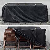 Gartenmöbel Abdeckung, Nasharia Abdeckhaube Atmungsaktiv für Gartenmöbel Wasserdichte Oxford Gewebe Sitzgruppe Abdeckhaube, Rechteckig (242x162x100cm) - Schwarz