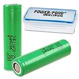 2x Samsung SDI INR18650-25R Hochleistungsakku 3,6 Volt Samsung 2500 mAh 20A, FLAT mit staubdichter und wetterfester Akkubox (auch für überlange 18650 oder 16340/CR123A) von Power-Pond®