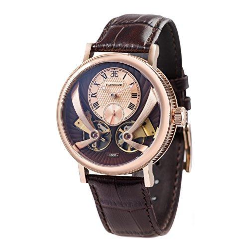 Thomas Earnhshaw – Reloj de hombre Beaufort Anatolia, automático y mecánico, con esfera marrón, analógico de estilo clásico y correa de cuero marrón, ES-8059-03