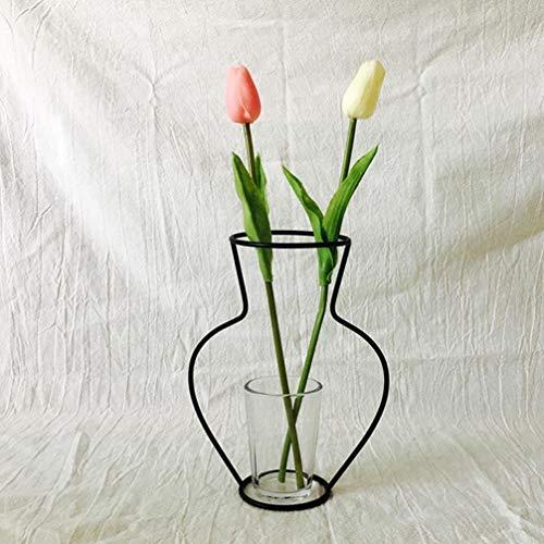 Gaddrt moderno europeo nordico minimalista astratta vaso nero ferro breve vaso fiore rastrelliere wedding home party decor ornamenti d