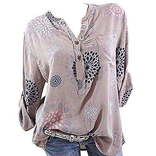 7498cfaefc0 Wenyujh' Damen Bluse Tunika Langarm Knopfleiste Elegant Locker Leicht  Langarmshirt Shirt Tshirt Oberteil Herbst Sommer