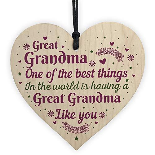 RED OCEAN Great Grandma Grandmother Gift Handmade Wooden Heart Plaque Keepsake Nan Nanny Gift For Christmas Birthday