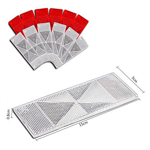Weiß Rot Großer rechteckiger hinterer Reflektor Satz von 10 Anhängerzaun / Torpfosten 2 Farben weiß