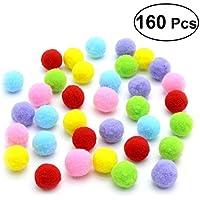 UKCOCO 160PCS Cat Kitten Sparkle Balls Pom Poms Bolas para Mascotas DIY Crafts 3.5CM (Color de la Mezcla)