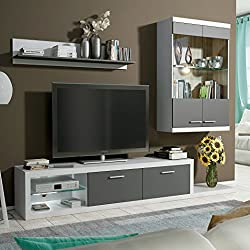 HomeSouth - Mueble de comedor con leds, salon vitrina modelo Dolores, acabado color Blanco y Grafito, medidas: 240 cm de ancho