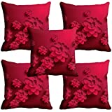 meSleep Pink Floral Cushion Cover (16x16) - Set of 5