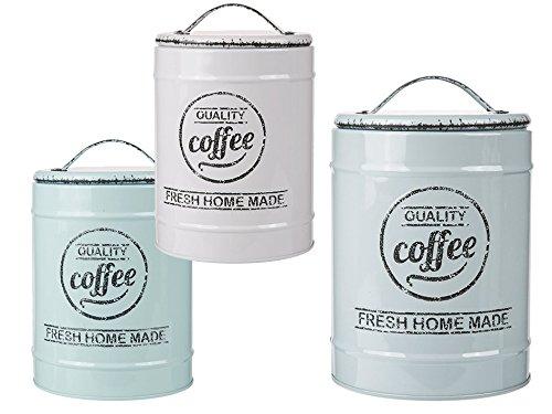 Riyashop 3 er Set Kaffeedose Aromadose Coffee Tea Suger Dose Vorratsdose Nostalgie Vintage Neu