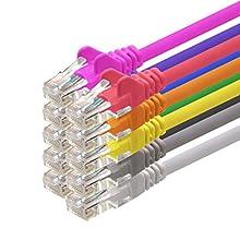 3m - 10 couleurs - 10 pièces - CAT5 Câble Ethernet Set - Câble Réseau RJ45 | câble de Patch | LAN Câble |CAT 5e |100 MHz | compatible avec CAT 6 / CAT 6a / CAT 7 | pour le switch, routeur, modem, Patchpannel, point d'accès, panneaux de brassage