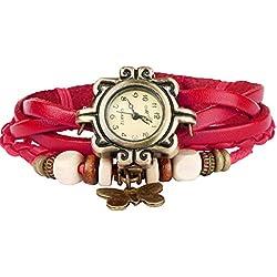 Bohemian Style [Waterproof] Retro Handmade Leather [Butterfly Charm Pendant Wrist Watch] Fashionable Luxury Stylish Weave Around [Wrap Watch Bracelet] For Women Ladies Girls [Scratch Resistant]- Red