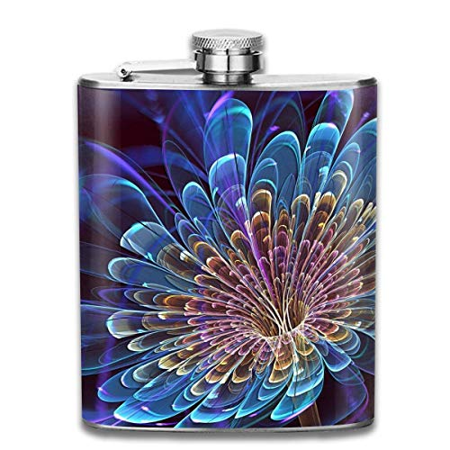 Miedhki Yellow Blue Flower Wallpaper Retro Portable 304 Stainless Steel Leak-Proof Alcohol Whiskey Liquor Wine 7OZ Pot Hip Flask Travel Camping Flagon for Man Woman Flask Great Little Gift - Wallpaper Skyrim
