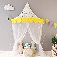 """HB.YE 5 in 1 Kids Princess Canopy Bed Tents with Gauze Curtain and Hanging Moon Characters, Natural Cotton Dome Reading Tent for children - Diametre 120cm/47.2"""""""