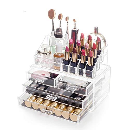 Acrylique Maquillage étui de Rangement de Bijoux Grand écran - Élégant Vanity Lot de Boîtes de Rangement de Maquillage. Size 1 Claire