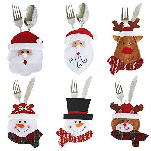 F-eshion 6pcs Besteckhalter Handtuch Messer Gabel Löffel Geformt Kostüm Weihnachtsmann Nette Küche Dekoration Tisch Heiligabend