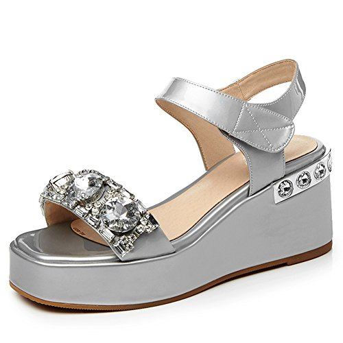Damen Open Toe Kuhleder Sandalen High-Heels Keilabsatz Glitzer Rhinestone mit Plateau Silber