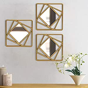 Art Street Golden Set of 3 Square Shape Decorative Wall Mirror for Home Decoration, Wall Decoration-10 x 10 Inches