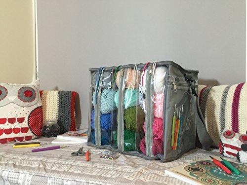 Borsa per lavoro a maglia, leggera e portatile con tasche portaoggetti per libri e strumenti, tasche in plastica trasparente per vedere il contenuto