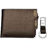 In vera pelle a portafoglio per carte di credito e monete rimovibile flip-out Tappo con chiave catena