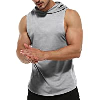 Men's Workout Sleeveless Hoodies Athletic Training Cotton Gym Hooded Tank Tops Sports Bodybuilding Fitness Muscle T…