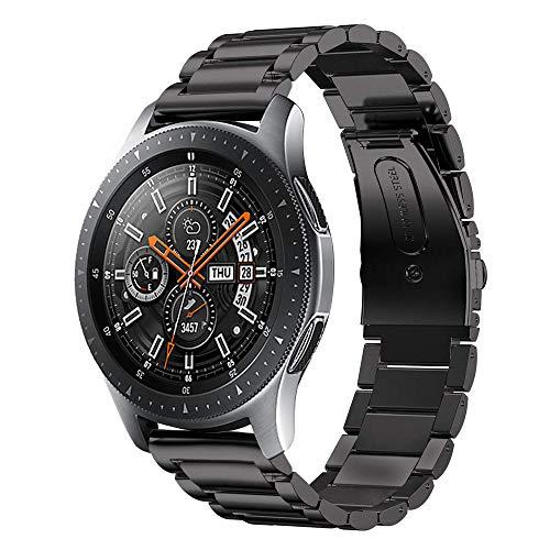 Leafboat Pulsera Compatible Samsung Galaxy Watch 46mm, 22 mm Pulsera con Correa de Repuesto en Acero Inoxidable clásico para Hombres y Mujeres, Correa Adecuada para Galaxy Watch 46-Black