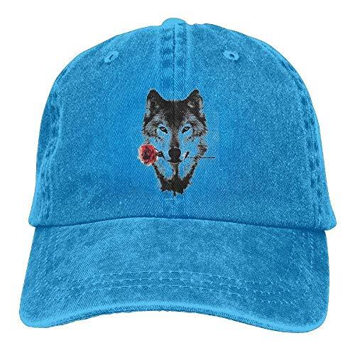 Preisvergleich Produktbild Presock Wolf Gnawing A Rose Denim Hat Adjustable Female Snapback Baseball Caps
