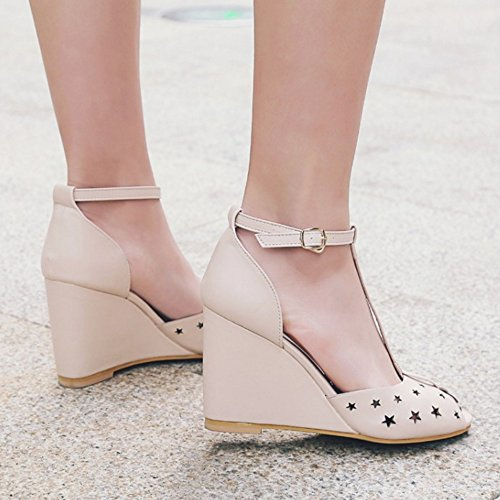 RizaBina Femmes Elegant T-strap Compensees Talons Hauts Ankle Wrap Sandales De Boucle 762 Abricot