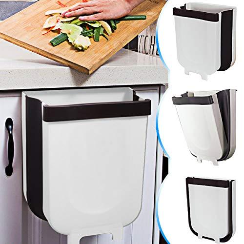 DUTISON Kitchen Poubelle Pliable Wall Mounted pour Voiture Bureau à Domicile 9L (Blanc)