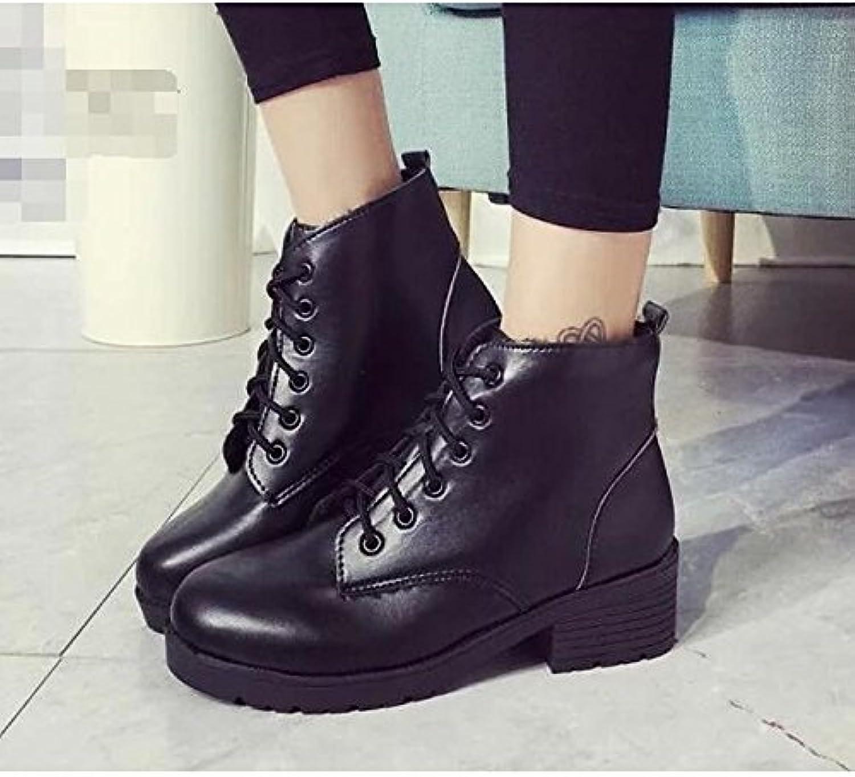 ZHZNVX HSXZ Zapatos de Mujer PU Primavera Otoño Comodidad Moda Zapatos Botas Botas de Tacón Plano Ronda Toe Botines...