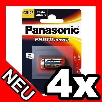 4er Original Panasonic CR123A / CR123 / CR17345 Lithium Batterie (3 V) 1400 mAh - Industrielle Zelle für Taschenlampen, Kameras und PIR-Sensoren - Made in Japan (Japan Kamera)