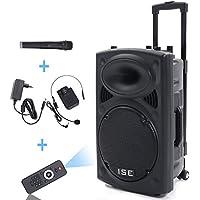ISE - Altavoz estéreo portátil de 30cm, 700W de LED RVA, 12VHF–Altavoz con micrófono inalámbrico y micro con cable y lector MP3(USB SD, chasis, ABS, batería de larga duración) SY-14009