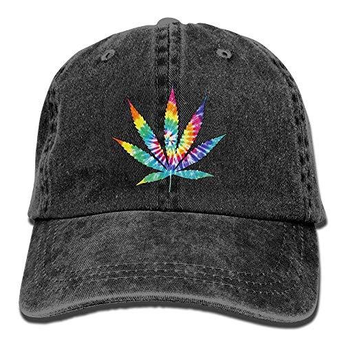 HOP caps Men and Women Weed Leaf Tie Dye Vintage Jeans Baseball Cap Black