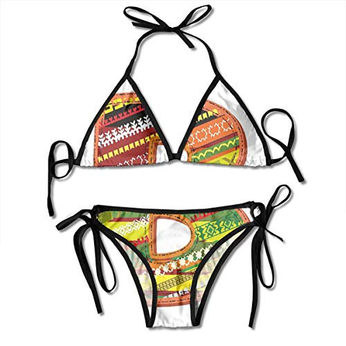 Adjustable Bikini Set Halter Ladies Swimming Costume, Winter Season Inspired Typing Tool Art Design Digitally Made Multicolor Palette,Halter Beach Bathing Swimwear