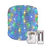 Lichterschlauch, ECOWHO 120er RGB LED Lichterkette 14M Mehrfarbig IP67 8 Modi Batteriebetrieb Fernbedienung mit Memory-Funktion für außen innen Party Garten Weihnachten Deko