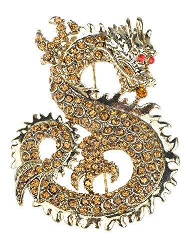 Alilang - Spilla a forma di drago dello zodiaco cinese, con strass rubino e...