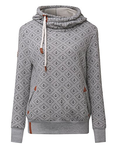 ZANZEA Hiver Femme Sweats à Capuche Pull Hoodie Hauts Veste Sweatshirt Pullover Tops Jumper Gris 465887