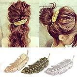 aiuin forma de pluma en alfiler de cabello (Metal Pinza Para Cabello coreana Bijoux coiffe X 3Pcs (oro, plata, bronce)