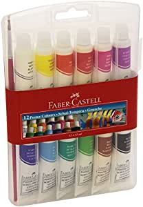Faber-Castell 121011 Gouache (12 Tubes) + 1 Pinceau