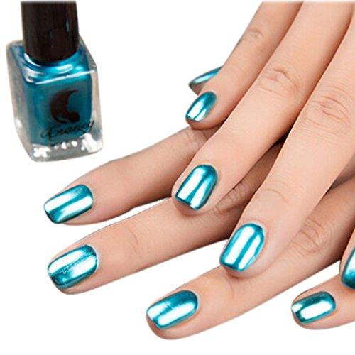 Powder Nail,Mirror Nail Polish Plating Silver Paste Metal Color Stainless Steel Mirror Silver Nail Polish for Nail Art (Blau) ()
