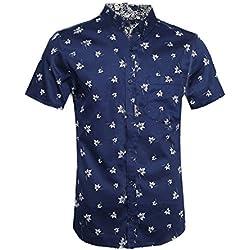 NUTEXROL Camisa Hawaiana para Hombre Camisas Corta Fibujos Hombre Ropa Estampada de Verano con Diseño de Hojas de Arce, Camiseta Casual de Manga Corta, Azul Marino, XL