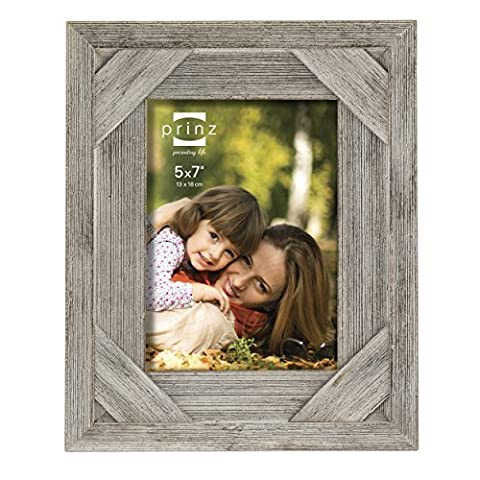 Prinz Barnes Antique Distressed Barnwood Frame, 5 by 7-Inch, White